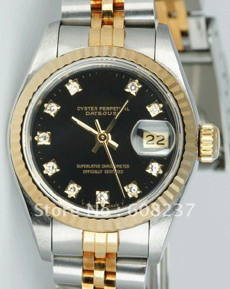 FREE SHIPPING NEW  Ladies Datejust 18k&amp;SS Black Diamond Dial<br><br>Aliexpress