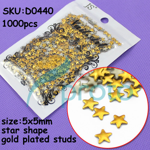 1000pcs 5mm gold star metal studs Handcraft DIY 3D Decoration Nail Art Dropshipping [Retail] SKU:D0440