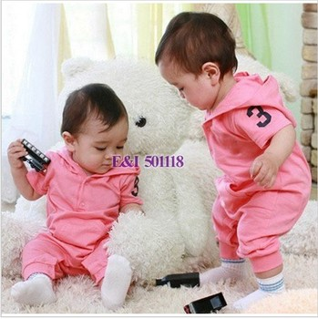 2015 Newborn Baby Clothing 2 Colors Pink And Blue Boy And Girl Baby Rompers Cotton Toddler Infant Clothes3PCS/Lot