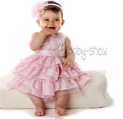 Roses baby girl tutu dress headdress wedding birthday party baby