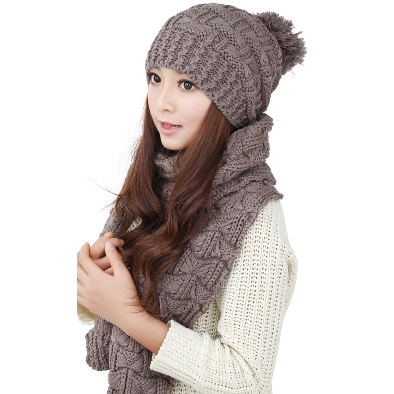 2015 Ladies Women Knitted Scarf And Hat Suite Set Winter Girl Knitting Scraves Cap Excluding Gloves 0128(China (Mainland))