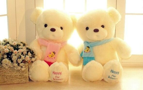 Birthday Valentines Gift 30cm Scarf Baby Bear Wedding Plush Toy High Quality Teddy Bear Doll 2 Colors(China (Mainland))