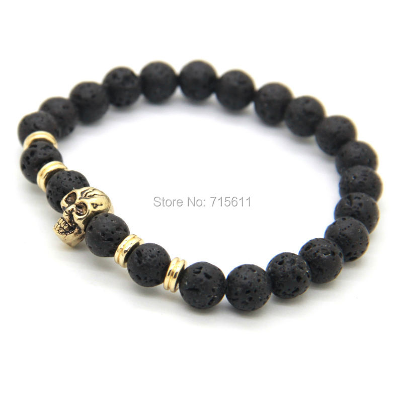 2014 New Products Wholesale 10pcs/lot Beaded 8MM Lava stone beads 24K Gold Skull Elastic Bracelets for Men and Womens Gift<br><br>Aliexpress