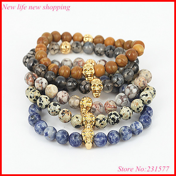 5pcs Men's Beaded Gold Skull Bracelet,Blue Veins,Vabanite Agate,Grey Dragon Veins Agate,Semi Precious Stone&Natural Wood Jewerly(China (Mainland))