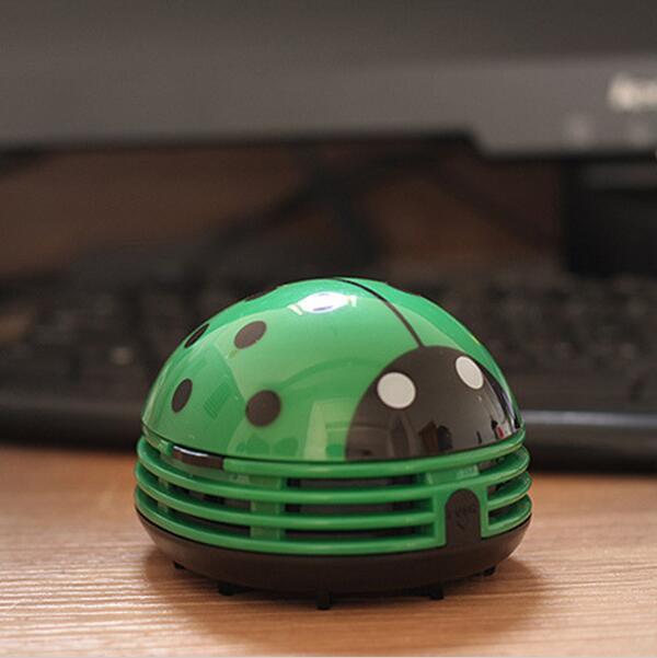 Cute Elegant Beetle Ladybug Cartoon Mini Electric Desktop Vacuum Table Desk Keyboard Dust Collector Cleaner Brush Motorised(China (Mainland))