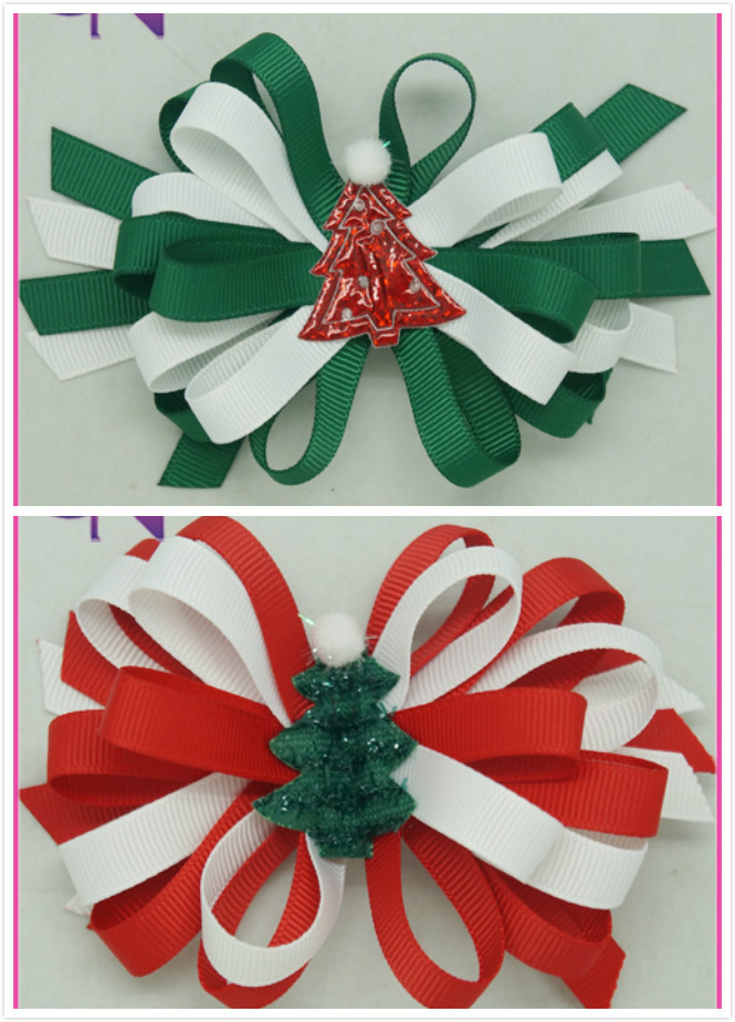"""Boutique Christmas Korker Hair Bow For Baby Girl 4""""Christmas Hair Bow With Cute Christmas Tree Kids Gift 20pcs/lot CNHB-14081311(China (Mainland))"""