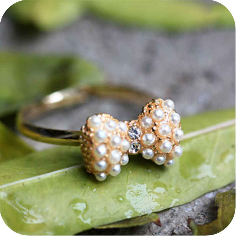 $10 (mix order) New Style 17.5mm Size Fashion Exquisite Pearl Bow Ring For Women E1442 4g(China (Mainland))