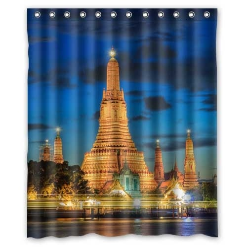 Thailand Rivers Bangkok Palace Night Street lights Cities House Decors Waterproof Fabric Bath Shower Curtain 155x180cm(China (Mainland))