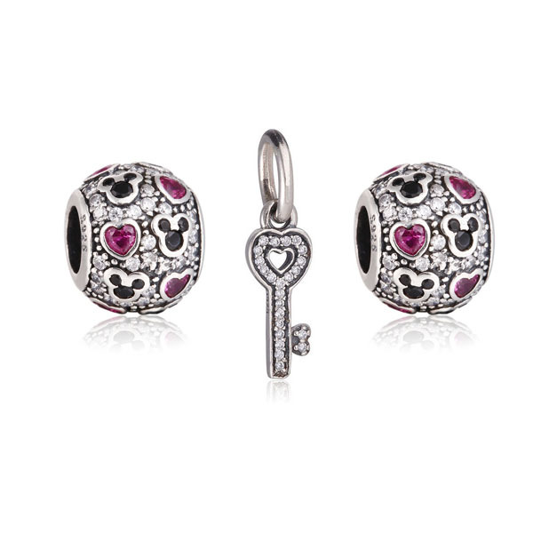 New 925 Sterling Silver Mickey Heart &amp; Dangle Key Charm Cubic Zirconia Fashion Jewelry Fits European Style Bracelets Necklaces<br><br>Aliexpress