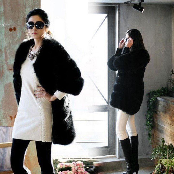 2014 Real Fur Coats for Women Warm Faux Fur Black Coat Jackets Outerwear S-XXL 30Одежда и ак�е��уары<br><br><br>Aliexpress