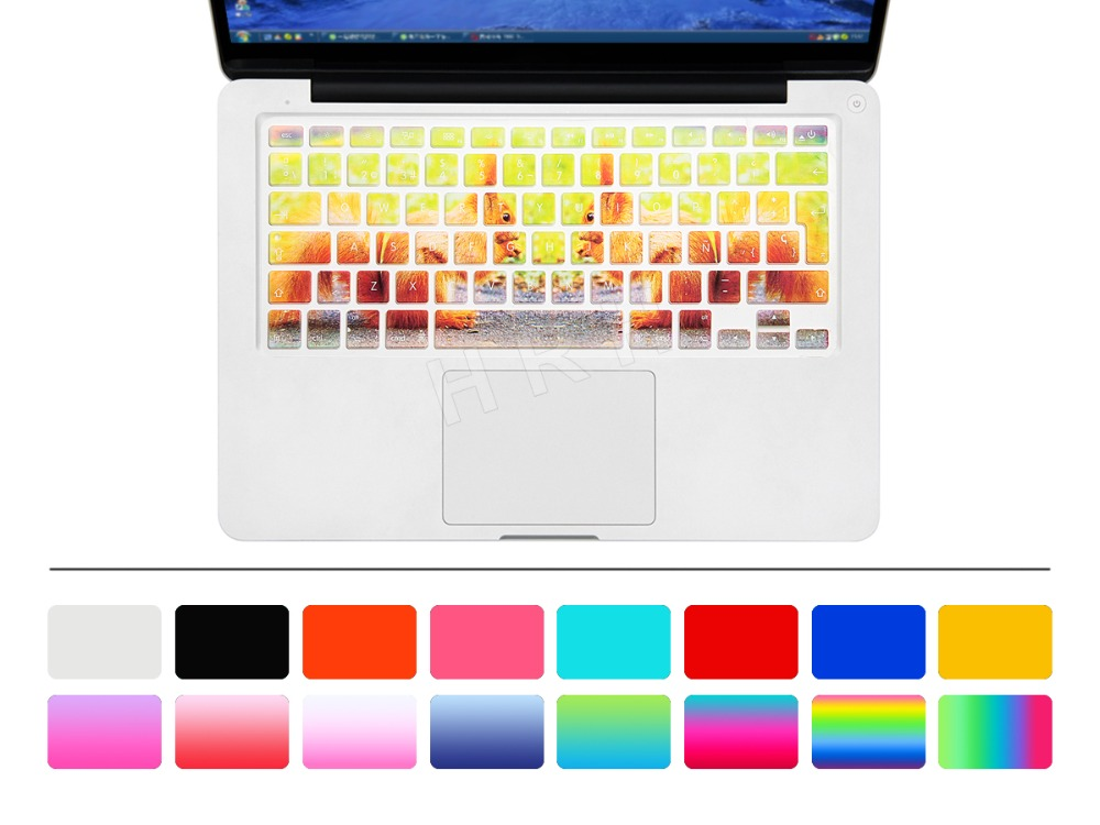 """New EU/UK layout Spanish Ombre Colors Keyboard Cover Silicone Skin for MacBook Pro 13"""" 15"""" Retina for iMac & MacBook Air 13""""(China (Mainland))"""