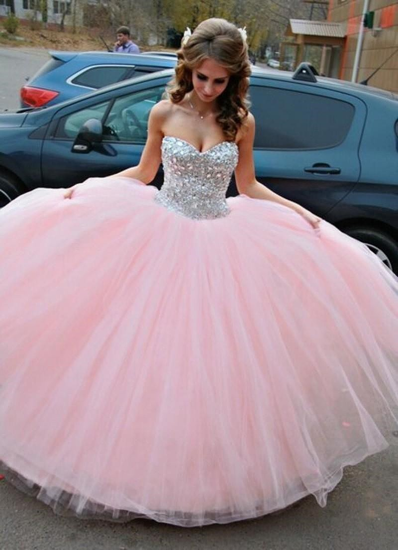 Pink Crystal Quinceanera Dresses Sweetheart Ball Gown - Graceful Women store