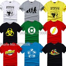 ทฤษฎีบิ๊กแบเสื้อยืดเชลดอนคูเปอร์ซูเปอร์ฮีโร่green l anternแฟลชคอสเพลย์เสื้อtผู้ชายผู้หญิงg eek tee TBBTเสื้อยืด(China (Mainland))
