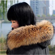 2016 Real Raccoon Fur Scarf Women 100% Natural Raccoon Fur Collar Winter Warm Shawl Fur Collar Scarves L#9(China (Mainland))