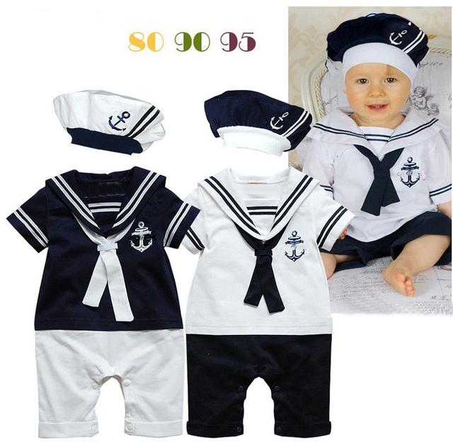 Свободного покроя малыша мальчик одежда новорожденный морской синий стиль мальчики-младенцы девочки детские комбинезоны + шляпа комплект лето короткая - рукав сейлор костюмы
