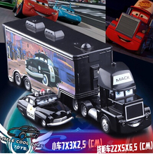 Free shipping alloy Pixar Cars 2 McQueens uncle truck container pull back sound light kids toy truck set Sheriff Optimus Prime(China (Mainland))