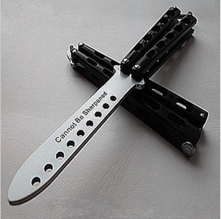 9 holes Butterfly exercise knife,practice knife novice exercises, tactical outdoor(China (Mainland))
