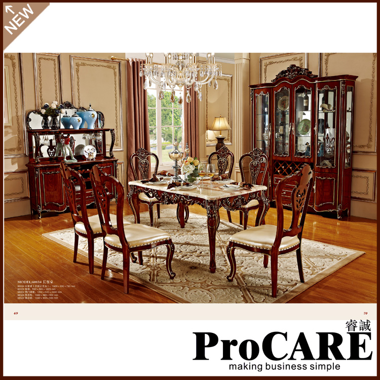 Marble dining table prices with wooden dinning chair indoor furniture living room dining table set(China (Mainland))