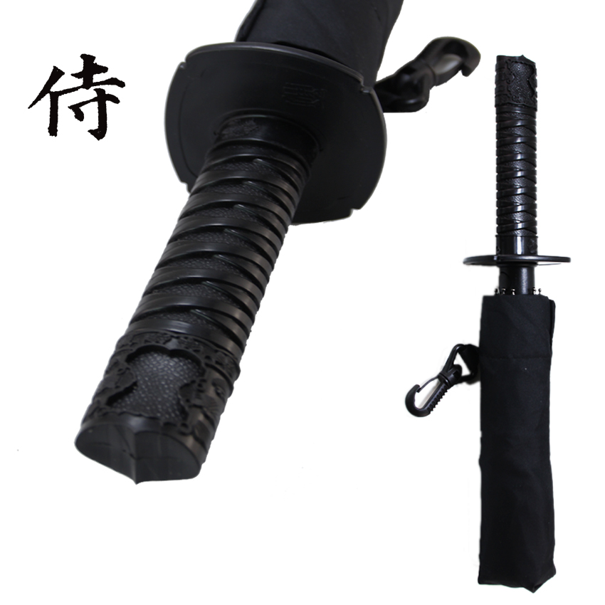 Cool Samurai swords umbrella folding umbrella sword creative Half self-opening umbrella Wind uv protection Deadpool Umbrella(China (Mainland))