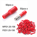 100x Electrical Male Female Crimp Terminals Wire Bullet Connector Red 10A BI057