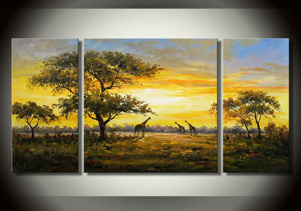 <font><b>African</b></font> savannah landscape pictures, giraffe-themed combination knife painting, handmade oil painting abstract art