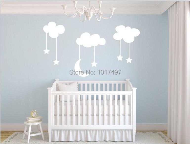 Moon stars baby nursery vinyl wall stickers large 220 for Stickers habitacion bebe