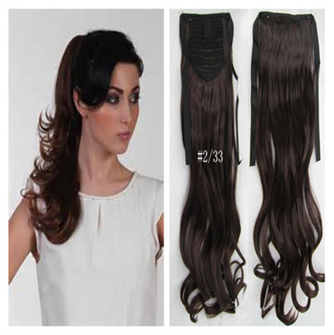 Darkest Brown MIX Dark Auburn Color Long Ponytail 20 inch 100g Wavy Synthetic Drawstring Clip - wigs & hair extensions store