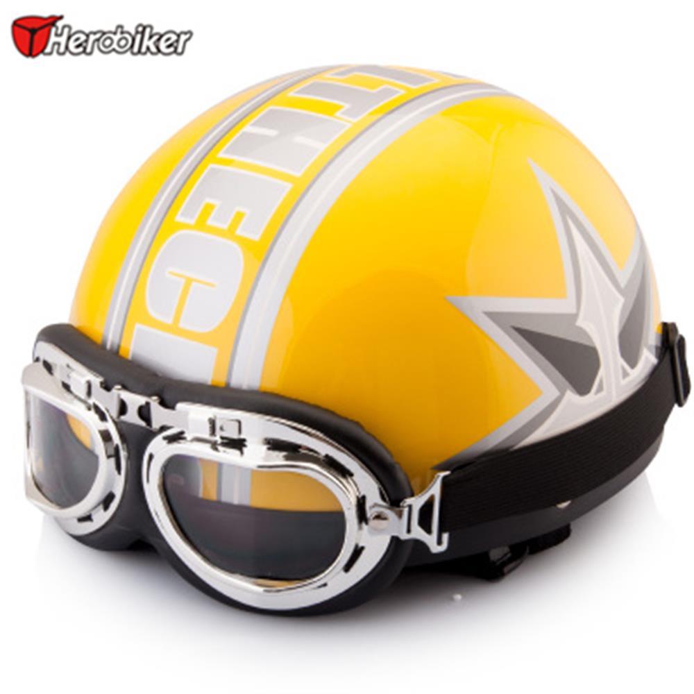 2016 for men women Vintage Open Face Half motorcycle safety helmet & Goggles & Visor Motocross Capacete Moto Helmet(China (Mainland))