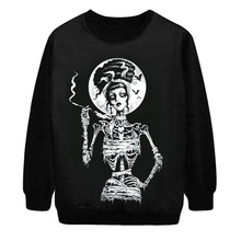 2015 New European style loose Gothic 3D Print pattern Hoodies Sweatshirts The rock style digital printing Pullover of men women(China (Mainland))