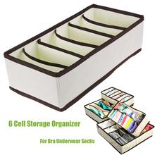 6 Cells Floding Collapsible Bra Underwear Socks Storage Organizer Boxes Bag Case(China (Mainland))
