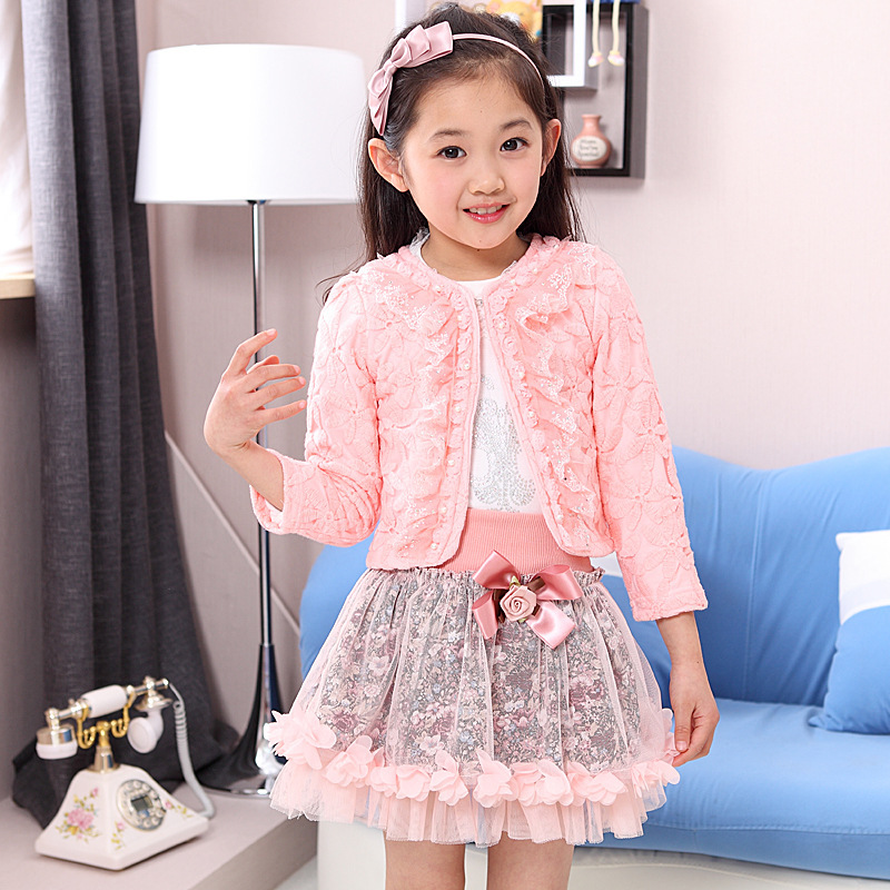 retail 2016 new girls clothing sets baby kids clothes children clothing full sleeve T-shirt +coat+dress , 3pc set , 2 color