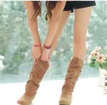 2016 new fashion Spring Autumn casual shoes princess sweet women boot stylish flat flock shoes fashion Mid-calf boots P045(China (Mainland))