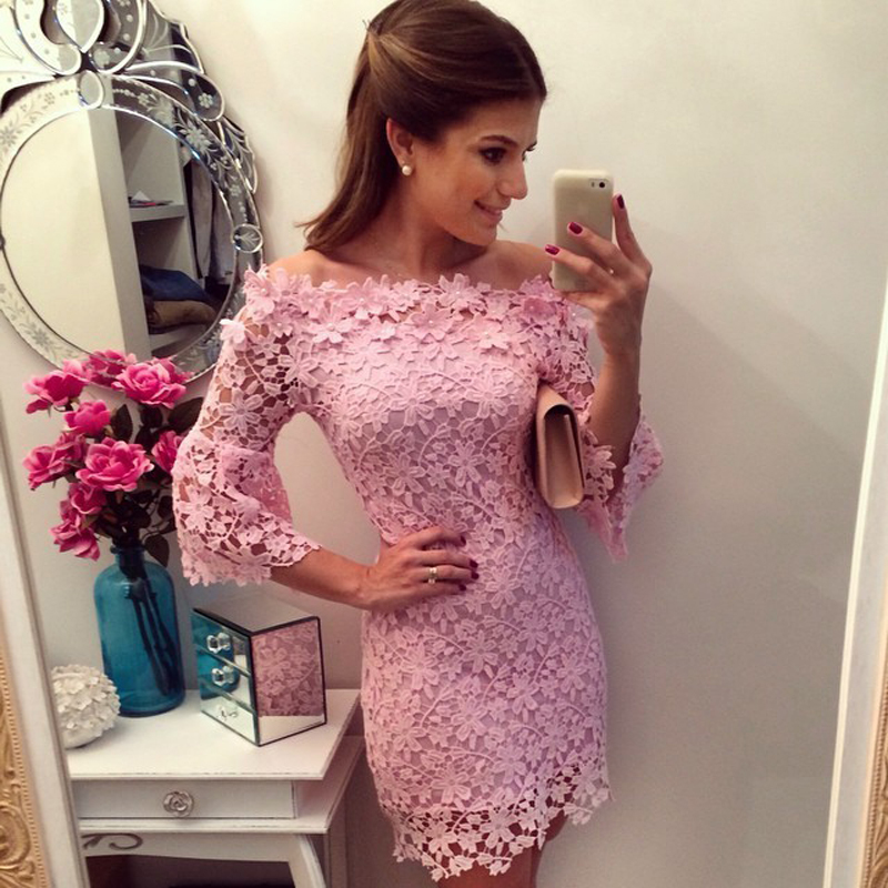 Brand New Pink Sexy Fashion Summer Women Ladies  Cute Casual Chiffon Dress Lace Top Dress Mini / cheap clothes china