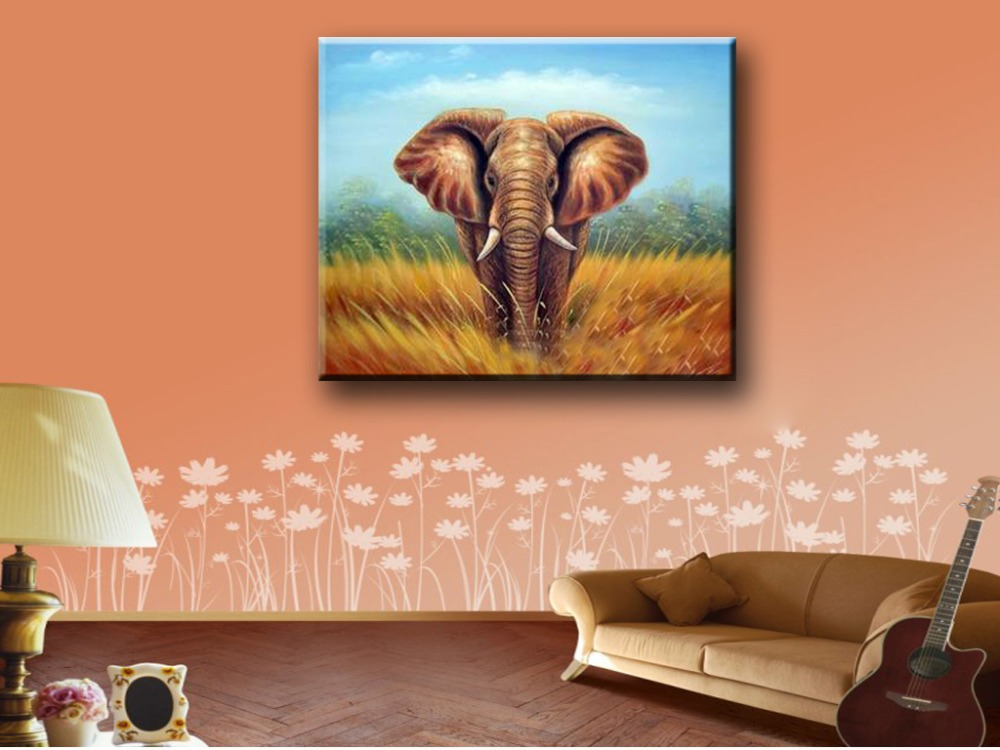 Hand painted painting Elephant for home decoration, oil paintings on canvas, single piece, art picture 1020(China (Mainland))