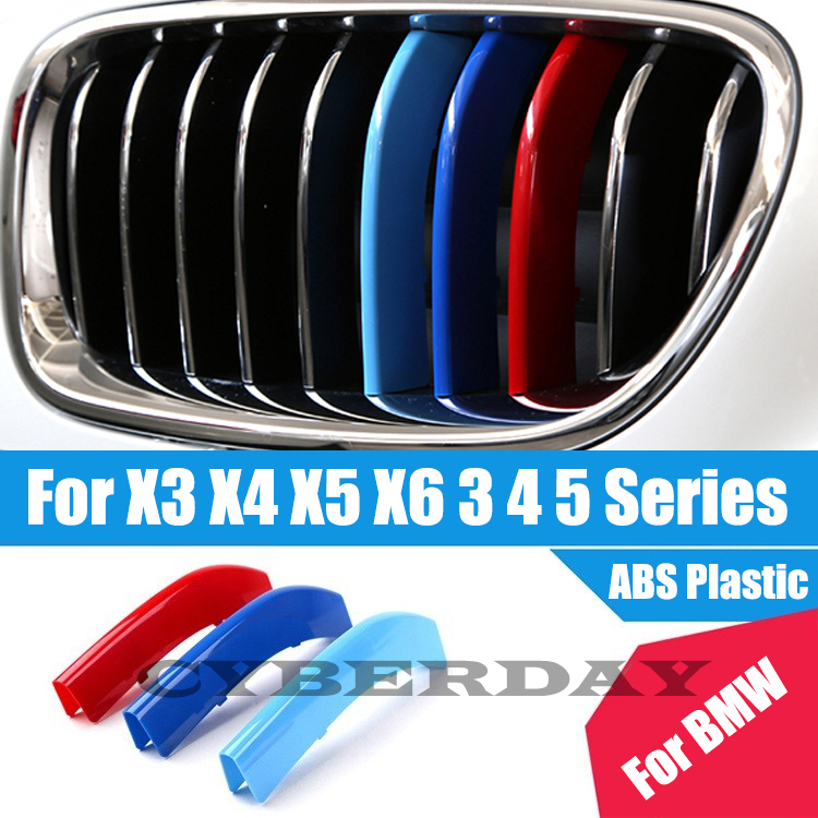 3 Colors ABS 3D M Car Styling Front Grille Trim Strips Cover Motorsport Stickers For BMW 3 4 5 X3 X4 X5 X6 F10 F18 F30 F35(China (Mainland))