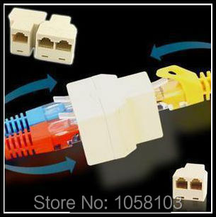 [RedStar]Gold plating Network cable RJ45 splitter 1 to 2 adapter 8p8c plug splitter adapter RJ45 splitter Shipping free(China (Mainland))