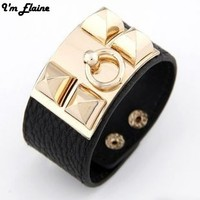 Punk Rock Bangles Multicolor PU Leather Bracelet Fashion New Coming Exaggerate Famous Brand JewelryE0052