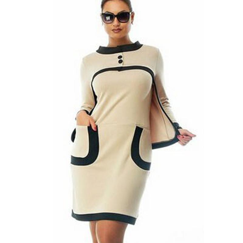 Женские платья работы офиса платья с длинным рукавом осень зима свободного покроя о-образным шеи большой размер женщин элегантный сексуальная одежда 6xl 5xl 4xl