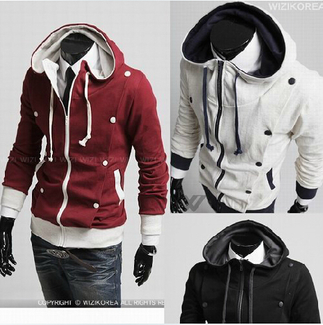 Free Shipping South Korean Men's Hoodie Jacket Coat Sweatshirt Hooded White Clared-red Black M-XXL
