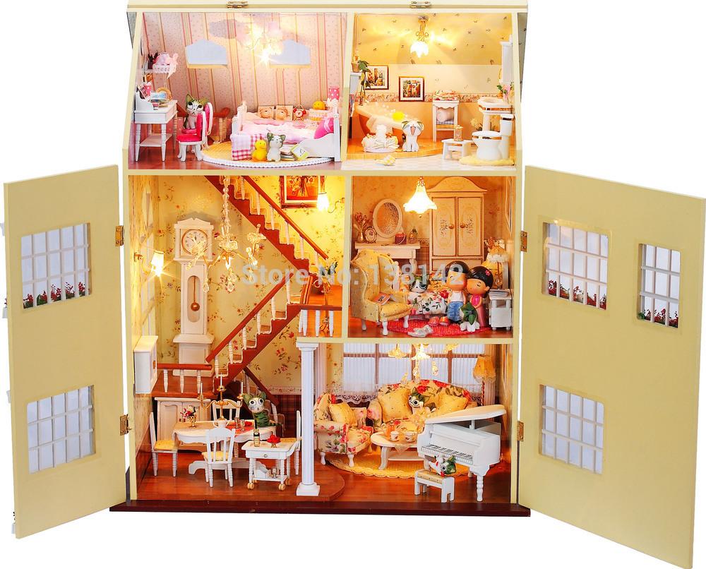 13812 large diy wooden dollhouse big villa doll house LED lights ...