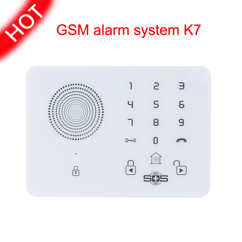 Фотография Wireless Home Security Alarm System for Elderly Care GSM SMS Sensors Alarm with Touch Panel SOS for Android Phone Control K7