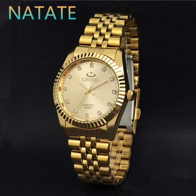 NATATE Men New Business Clock Fashion Men Watch full gold Stainless Steel Quartz Wrist Watch CHENXI Waterproof Watch 0140(China (Mainland))