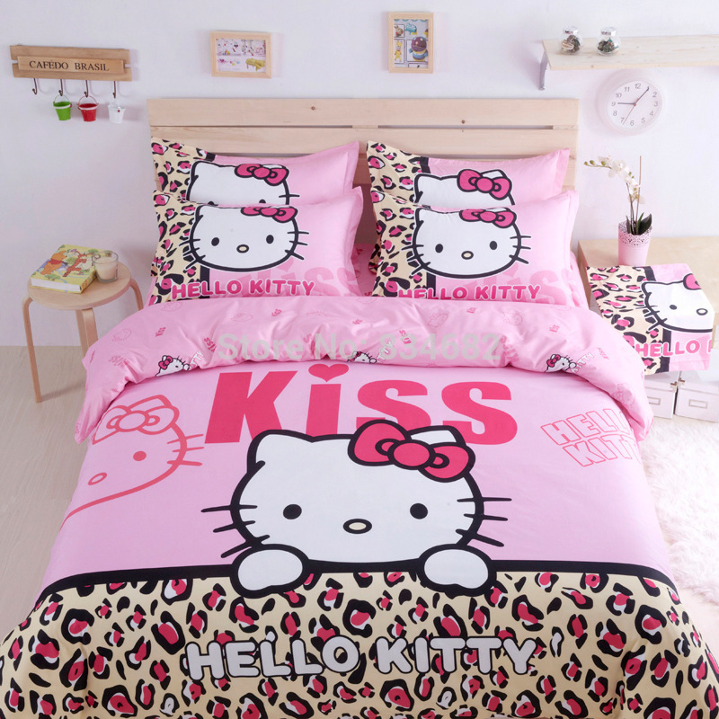 J.G Chen Home Textiles Bedclothes,Child Cartoon Pattern,Hello Kitty Bedding Set Include Duvet Cover Bed Sheet Pillowcase Sets(China (Mainland))