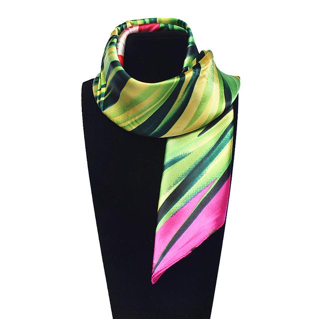 60 см * 60 см женщин 2016 новинка подражали шелковый зеленый и цветочные печатный евро косынка горячая распродажа шарфы