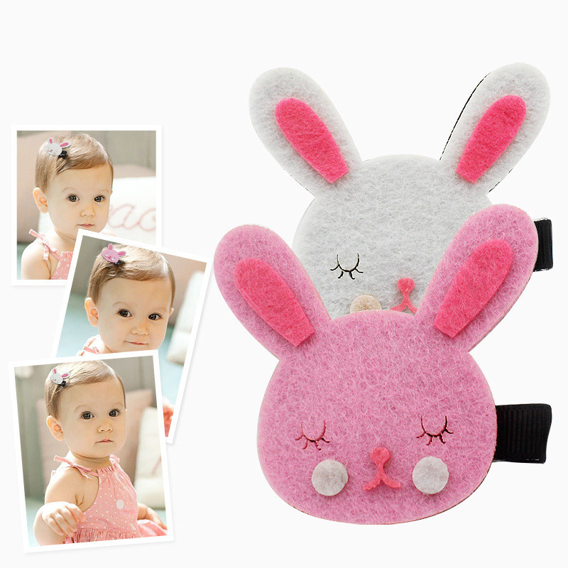1pcs Baby Toddler Girls Hair Clips cute cartoon rabbit Kids Hairpin children hair accessories 2 color free shipping(China (Mainland))