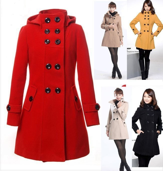 2015 women's Hooded Double Breasted Trench Wool Coat long Winter Jackets parka coats Outerwear lady good quality - yaning su's store