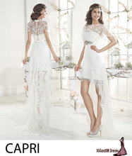EW086 Sexy Scoop Cap Short Sleeves Lace Short Wedding Dress Charming High Low Sheath White Wedding Dresses Two Pieces Suits(China (Mainland))