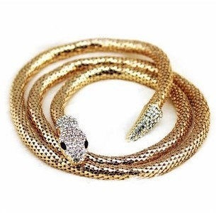 Gold plated long chain snake necklace for women Punk vintage flexible necklace jewelry 110cm(China (Mainland))