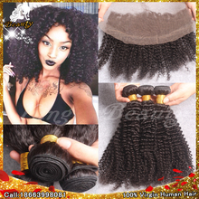 7A Virgin brazilian kinky curly hair with lace frontal 4pcs lot cheap human hair bundles with closure,lace frontal with bundles(China (Mainland))