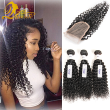 8a brazilian curly virgin hair with closure queen hair products with closure bundle brazilian virgin hair with closure 4 bundles